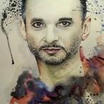 Ein mit Wasserfarben gemaltes Porträt von Dave Gahan.