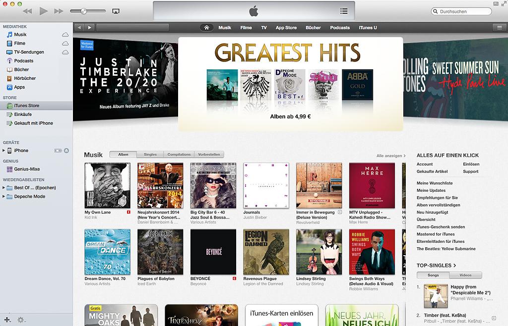 Bei iTunes werden weniger digitale Titel verkauft.