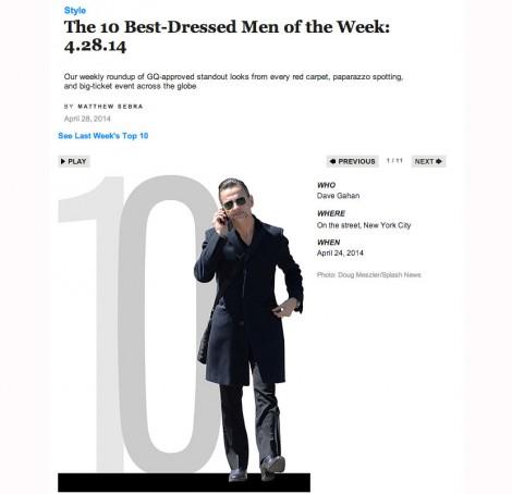 GQ: Dave Gahan zählt zu den am besten angezogenen Männern der Woche. (Screenshot)