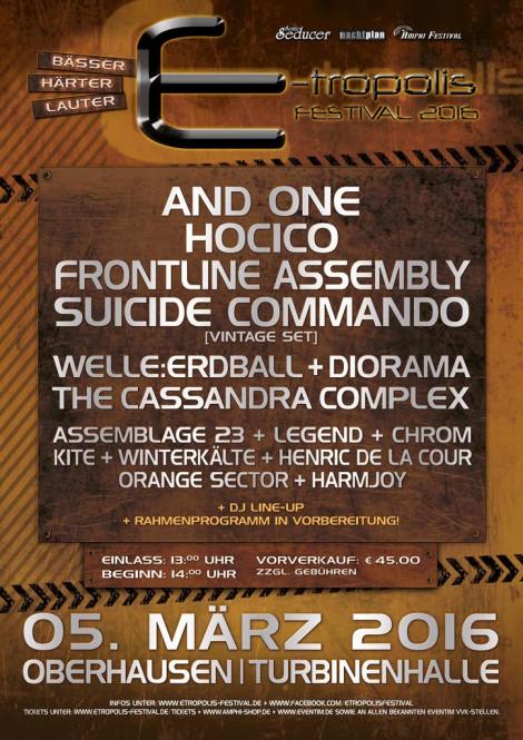 Flyer für das E-tropolis Festival 2016